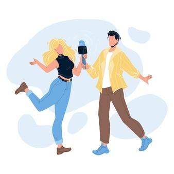 Paar zingen in karaoke club samen vector. jonge man en vrouw zingen lied met microfoon in karaoke nachtclub. personages mensen feest, activiteit grappige tijd platte cartoon illustratie