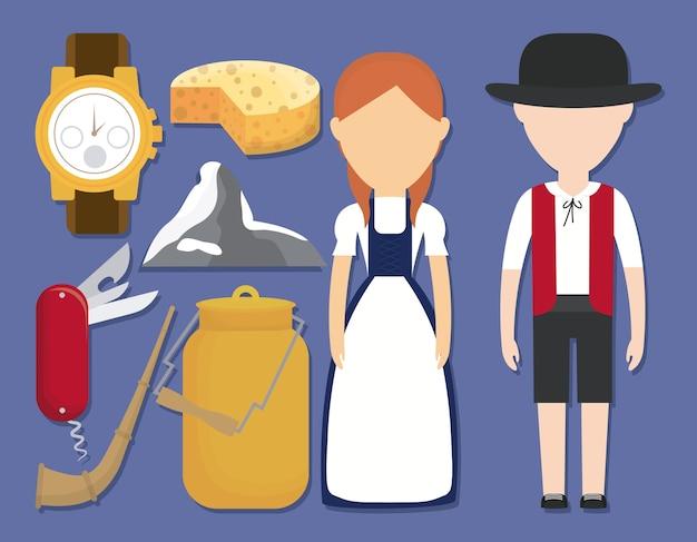 Paar zwitserse mensen en iconische zwitserse spullen pictogrammen