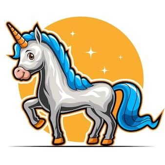 Paard eenhoorn staande dierlijke mascotte voor sport en esports logo vectorillustratie