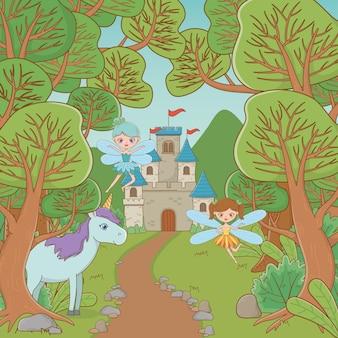 Paard en fee van sprookjesachtig ontwerp