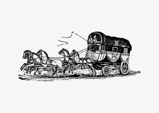 Paard en wagen vintage tekening