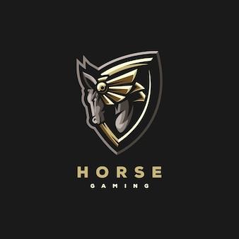 Paard gaming sport logo ontwerp