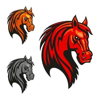 Paard hengst hoofd clipart. krachtige mustang