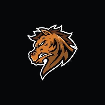 Paard hengst hoofd mascotte illustratie mustang esport cartoon logo design