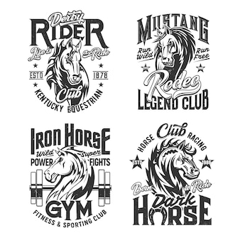 Paard hengst mascotte t-shirt afdruksjabloon. mustang paardensnuit met golvende manen gegraveerde vector. paardensport en rodeo sport, fitness gym en race club kleding custom design print met mascotte