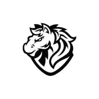 Paard hengst mustang hoofd cartoon mascotte illustratie logo in zwart-witte kleur