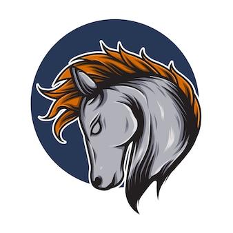 Paard hoofd logo mascotte illustratie
