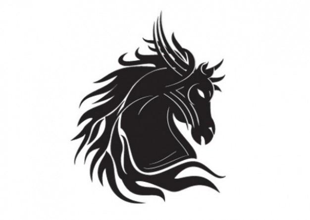 Paard hoofd silhouet tribal tatoo template
