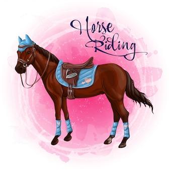 Paard in paardensportuitrustingillustratie.