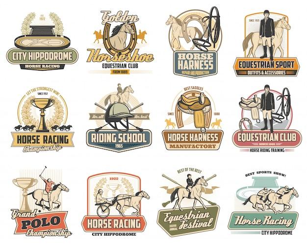 Paard, jockey, zadel, hoefijzer. paardensport