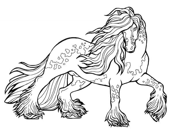 Paard loopt draf. kleurboek. het paard rent in draf. kleurboek. tinker is een volbloed- paard.