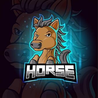Paard mascotte esport kleurrijk logo
