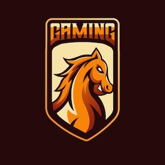 Paard mascotte logo-ontwerp voor gaming, esport, youtube, streamer en twitch