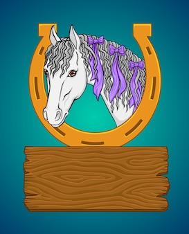 Paard met een hoefijzer en houten bord