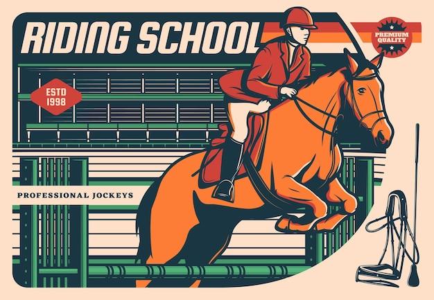 Paard met jockey springen over hindernis