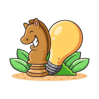 Paard schaken en lamp cartoon