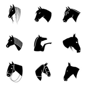 Paard vector set. eenvoudige illustratie in de vorm van een paard, bewerkbare elementen, kan worden gebruikt in logo-ontwerp