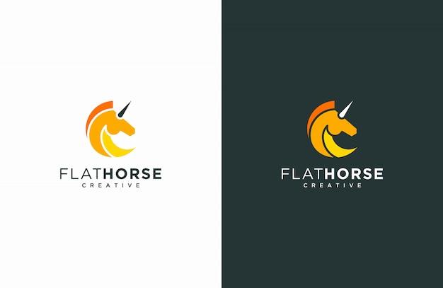 Paard vlakke stijl logo