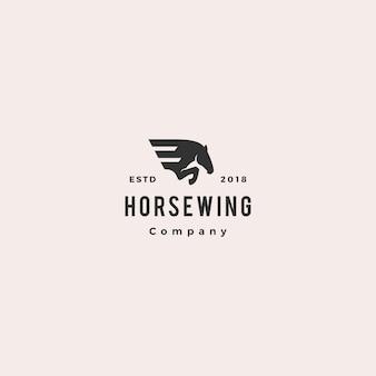 Paard vleugel pegasus logo hipster