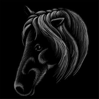 Paard voor t-shirt print uitloper. jacht stijl paard.