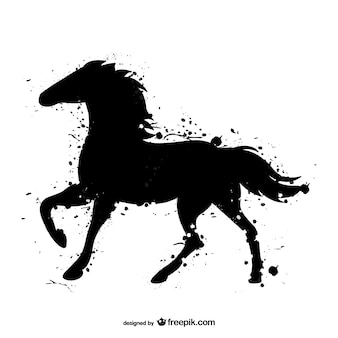 Paard zwarte aquarel