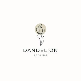 Paardebloem bloem logo pictogram ontwerp sjabloon platte vector