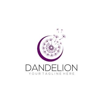 Paardebloem logo concept geïsoleerd in witte achtergrond bloem logo sjabloon vector