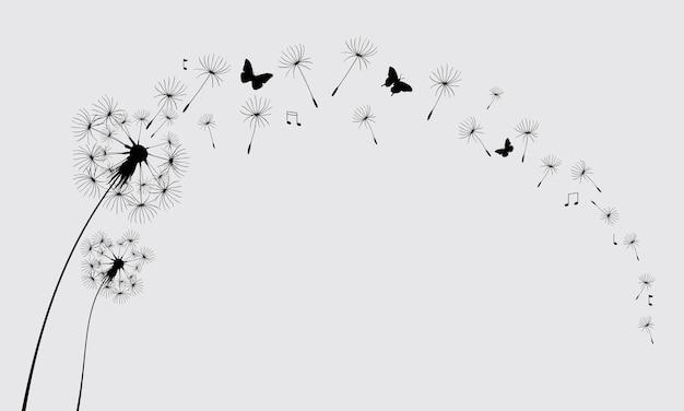 Paardebloem met vliegende vlinders en zaden vectorillustratie vector geïsoleerd decoratie-element