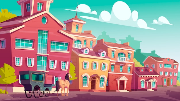 Paardenkoets staan op lege antieke straat