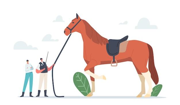 Paardensport en paardentrainingsconcept. kleine trainer- en jockeypersonages in de buurt van enorme volbloedhengst bereid en train dier voor clubcompetitie. cartoon mensen vectorillustratie