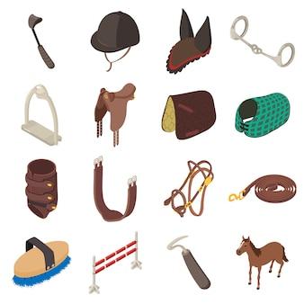 Paardensport uitrusting pictogrammen instellen. isometrische illustratie van 16 vectorapparatuur van het paardsportmateriaal voor web