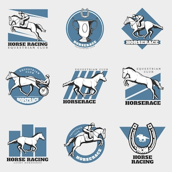 Paardensport vintage logo's set