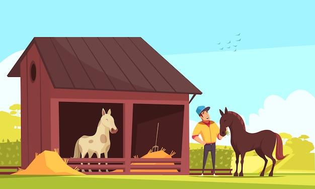 Paardenstal en mens die de hengst voedt
