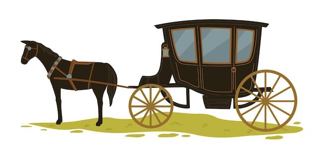 Paardentrekwagen met glazen ramen. geïsoleerd paardenvervoer en woon-werkverkeer, historisch stadsvervoer. vintage rit met dieren. ouderwetse manier, vector in vlakke stijl