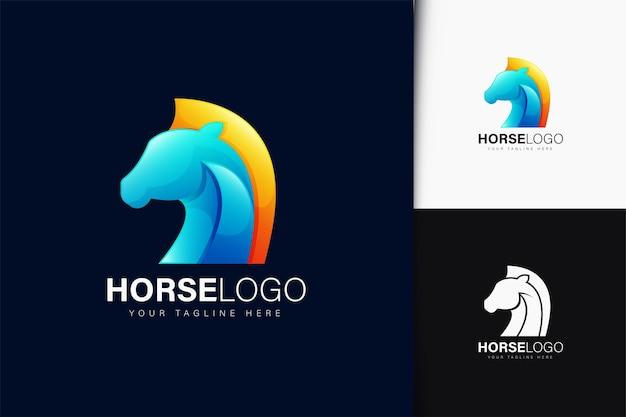 Paardlogo-ontwerp met verloop