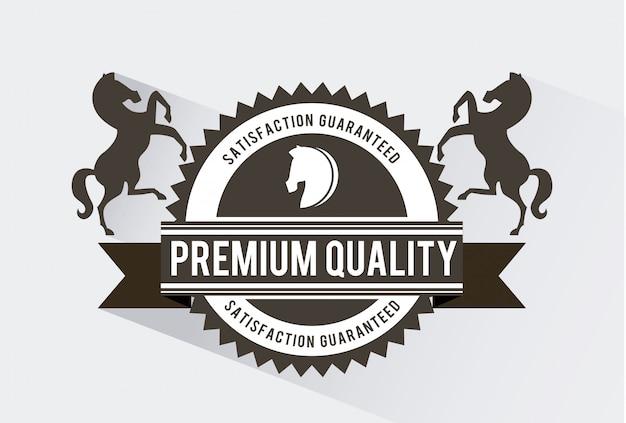 Paardontwerp over witte vectorillustratie als achtergrond