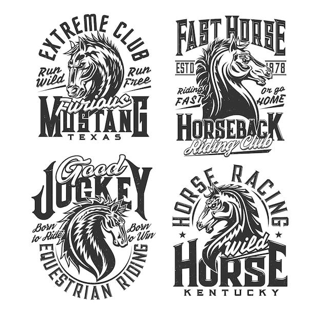 Paardrijclub, paardensport t-shirt prints. hengst, wilde mustang mascotte vector. paardrijclub, paardenrennen jockey custom design kleding met renpaard hoofd en vintage typografie