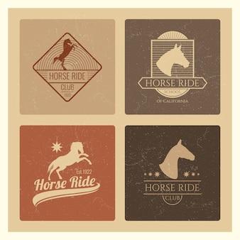 Paardrijden club vintage embleem set