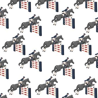 Paardrijden. naadloze patroon. patroon met paarden. vrouw die een paard berijdt. cartoon-stijl. voor ontwerp en decoratie.