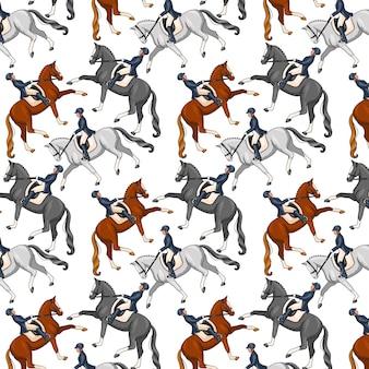 Paardrijden. naadloze patroon. patroon met paarden. vrouw die een paard berijdt. tekenfilm.