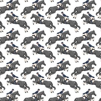 Paardrijden. naadloze patroon. patroon met paarden.