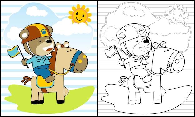 Paardrijden paard cartoon in de zomer met schattige rijder