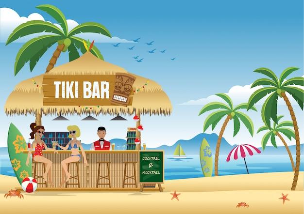 Paarmeisje die van de zomer genieten bij de tiki-bar