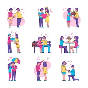 Paarmensen in geïsoleerde liefdeillustratie reeks in wit.