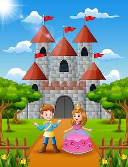Paarprinses en prins die zich voor het kasteel bevinden