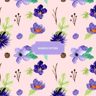 Paars bloemenwaterverf naadloos patroon