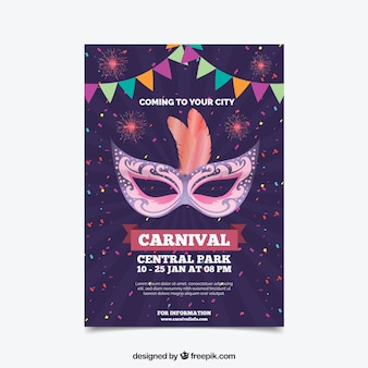 Paars carnaval feest poster