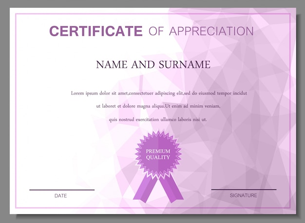 Paars certificaat van waardering ontwerp