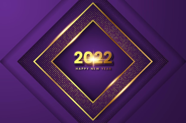 Paars en goud gelukkig nieuwjaar 2022 moderne banner. premium vector