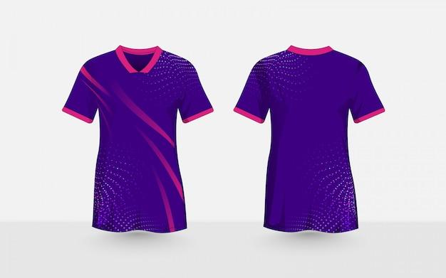 Paars en roze, abstracte halftoonpatroon lay-out e-sport t-shirt ontwerpsjabloon